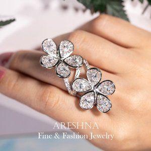 25ct Floral Swarovski Crystals Cocktail Ring